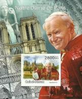 gb13101bi Guinea Bissau 2013 850th Anniversary Notre Dame de Paris John Paul II Benedict XVI imperf s/s