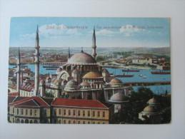 AK Türkei 1909 (?) Salut De Constantinople / Vue Panoramique De La Mosquee Suleymanie Echt Gelaufen Nach Wien! - Türkei