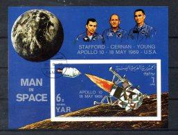 YEMEN. BF 105 (catalogue Michel) Oblitéré De 1969. Apollo 10. - Space