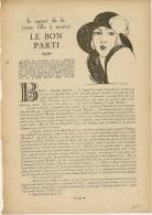 """Feuillet  Article Actualité De 1922  Le Carnet De La Jeune Fille A Marier """" LE BON PARTI"""" .... - Historical Documents"""
