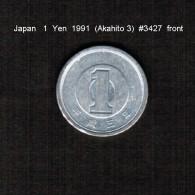JAPAN    1  YEN   1991  (AKIHITO 3---HEISEI PERIOD)  (Y # 95.2) - Japan