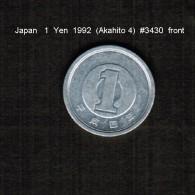 JAPAN    1  YEN   1992  (AKIHITO 4--HEISEI PERIOD)  (Y # 95.2) - Giappone