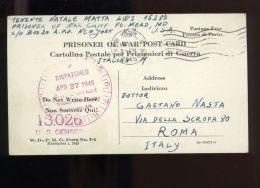 L6997 CARTOLINA POSTALE PRIGIONIERI DI GUERRA USA, 27/04/1945. PRIGIONIERO DEL CAMPO FORT GEORGE MEADE, MARYLAND - 5. 1944-46 Luogotenenza & Umberto II