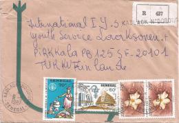 Senegal 1987 Kaolack Ndorong FAO Agriculture Central Bank Flower Registered Cover - Senegal (1960-...)