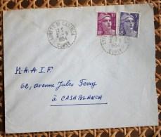 Enveloppe Affranchie Type Gandon Pour Casablanca Oblitération Loreto Di Casinca Corse - Postmark Collection (Covers)
