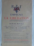 AFFICHE ORIGINALE-GUERRE 1939-1945- FRANCISQUE-REPUBLIQUE FRANCAISE EMPRUNT DE LA LIBERATION- L. KLOTZ MINISTRE FINANCES