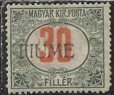 FIUME 1918 1919 SEGNATASSE TAXES TASSE POSTAGE DUE 30 F. MH BEN CENTRATO - 8. WW I Occupation