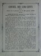 AFFICHE ORIGINALE-CONSEIL DES CINQ CENTS- 3 PLUVIOSE AN IV-1796-BARBOU BOISQUENTIN BEAUMONT SUR SARTHE- LE MANS LEBRAULT