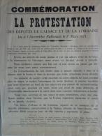 AFFICHE ORIGINALE-COMMEMORATION LA PROTESTATION DES DEPUTES ALSACE LORRAINE -1ER MARS 1871- ASSEMBLEE NATIONALE - Affiches