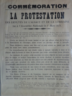 AFFICHE ORIGINALE-COMMEMORATION LA PROTESTATION DES DEPUTES ALSACE LORRAINE -1ER MARS 1871- ASSEMBLEE NATIONALE