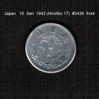 JAPAN    10  SEN   1942  (HIROHITO 17---SHOWA PERIOD)  (Y # 61a) - Japan