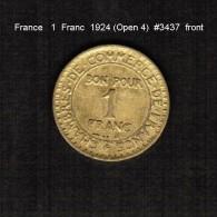 FRANCE    1  FRANC   1924  (OPEN 4)  (KM # 876) - France