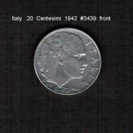 ITALY   20  CENTESIMI   1942  (KM # 75b) - 1861-1946 : Kingdom