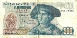 BELGIUM 500 FRANCS GREEN MAN FRONT WOMAN BACK SIGN 3-8(?)DATED 05-03-1971 P135 VF READ DESCRIPTION - [ 2] 1831-... : Reino De Bélgica