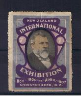 RB 959 - 1906-1907 New Zealand Cinderella Stamp - Label - Christchurch International Exhibition - Errors, Freaks & Oddities (EFO)