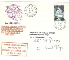 LBL21 - LA REUNION 1ère LIAISON AIR FRANCE PAR BOEING 707 ST DENIS-PARIS  LE 8/8/1967 - Airmail