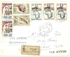 LBL21 - REP. DU CONGO - LETTRE AVION RECOMMANDEE BRAZZAVILLE / PARIS 18/11/1964 - Airmail