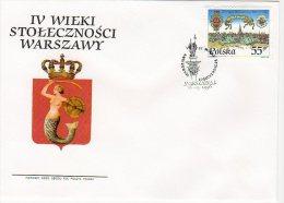 Pologne 1996 FDC Michel N° 3581  - Y N° 3370 400 Ans Varsovie Comme Capitale Siréne - FDC
