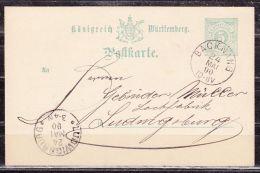 P 34 Ziffer, Backnang Nach Ludwigsburg, AK-Stempel 1890 (44267) - Wuerttemberg