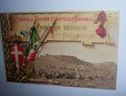 M3 CARTOLINA ORIGINALE  CR. CORPO DI TRUPPE COLONIALI (ERITREA) FANTERIA IDIGENA 1° BATTAGLIONE - Guerra 1939-45