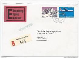 CH - 18723 - Enveloppe Exprès Recommandée Envoyée De Zurich Au Liechtenstein 1972 - Suisse