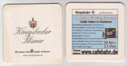 Königsbacher Brauerei Koblenz Pilsener , Cafe Hahn , 10 Jahre Weihnachtsvariete - Beer Mats