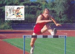 D14825 CARTE MAXIMUM CARD 1996 LIECHTENSTEIN - HURDLES CP ORIGINAL - Athletics