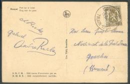 10 Centimes Petit Sceau De L'Etat Obl; Sc CONVOYEUR TRAIN 1208 Sur C.P. De HOUYET Le 25-6-1936 Vers Gosselies.  Qualité - Postmark Collection