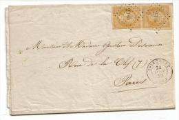 013. LAC Paire N°13 Jaune-citron (Superbe) - De Spincourt (MEUSE) - 1858 - Marcophilie (Lettres)