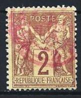 "YT 85 "" Sage 2c. Brun-rouge "" Cachet à Date Rouge - 1876-1878 Sage (Type I)"