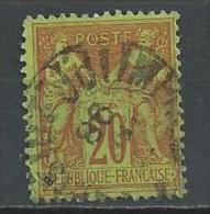"""YT 96 """" Sage 20c. Brique S. Vert """" Cachet Imprimés - 1876-1878 Sage (Type I)"""