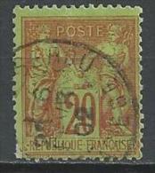 """YT 96 """" Sage 20c. Brique S. Vert """" Cachet à Date - 1876-1878 Sage (Type I)"""