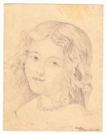 """Portrait D'une Petite Fille : Dessin Original Au Crayon, Sur Papier, D'époque XIX° Siècle, Signé, Daté Et Legendé : """"Jam - Dibujos"""