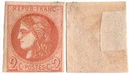 Emission Bordeaux N°40 B Report 2 - Charnière  (nuance Foncée à Marron ?) - 1870 Emission De Bordeaux