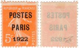 Préo - Semeuse - 5 Cts Surchge Paris 1922 - N° 37 - Préoblitérés