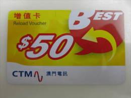 Macau Reload Voucher Card,Best $50,used - Macau