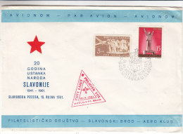Avions - Yougoslavie - Lettre De 1961 ° - Premier Vol - 1945-1992 Socialist Federal Republic Of Yugoslavia