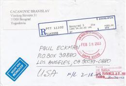 Yugoslavia 2003 Beograd EMA Post Office Meter Franking Barcoded Registered Cover - 1992-2003 Federale Republiek Joegoslavië