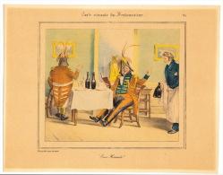 (Gastronomie). GRANDVILLE. Carte Vivante Du Restaurateur. Collection De 8 Gravures En Couleurs D'aprés Les Dessins De Gr - Prints & Engravings