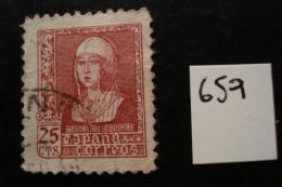 Espagne - Effigie Isabelle 25c Carmin - Années 1938-40 - Y.T. 659 - Oblit. Used. - 1931-Today: 2nd Rep - ... Juan Carlos I