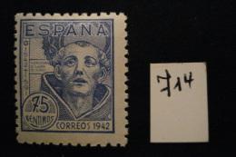 Espagne - San Juan De La Cruz 75c Bleu - Année 1942 - Y.T. 714 - Oblit. Used. - 1931-Today: 2nd Rep - ... Juan Carlos I