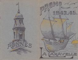 Rennes 35 Bretagne France - Carte Ecole Guerre 1939 1945 Eleve Bac Résisitance ? Promo 1942-45 Caravelle Heredia - Vieux Papiers