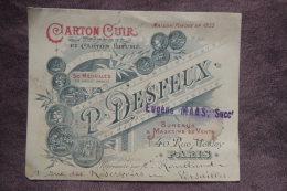CARTON CUIR P DESFEUX 40 RUE MESLAY PARIS MAISON FONDEE EN 1885 - Cartes De Visite
