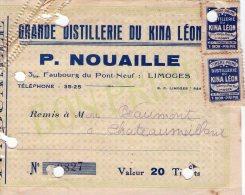 Facture - Timbre Prime - Grande Distillerie Du Kina Leon - P. NOUAILLE - LIMOGES - France
