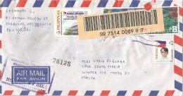 Phillipines 2000 Manila Barcoded Registered Cover Via Italy - Filippijnen