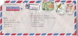REGISTERED Air Mail SALAKA SRI LANKA COVER 6.00 SENANAYAKE 10.00 BULBUL BIRD 0.50 BUTTERFLY Stamps Insect - Sri Lanka (Ceylon) (1948-...)