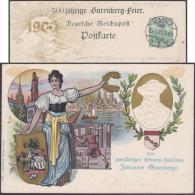 Allemagne 1900. Carte Postale TSC. 500ième Anniversaire De La Naissance De Johannes Gutenberg, à Mayence (Mainz) - Enveloppes