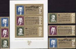 Musiker Bach,Händel,Schütz DDR 2931/3 4ZD+Block 81 ** 8€ Kunst Der Fuge Concerto Grosso Chor-Musik Nr.4 Sheet Of Germany - [6] Democratic Republic