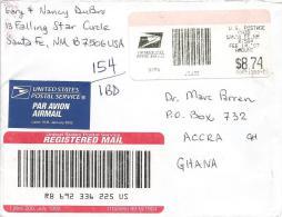 USA 2007 Santa Fe Post Office Meter Franking Barcoded Registered Cover - Marcofilie