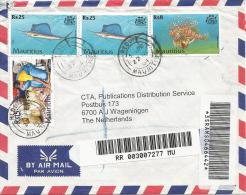 Mauritius 2004 Reduit Swordfish Pterois Coral Fish Basket Barcoded Registered Cover - Mauritius (1968-...)